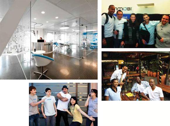 世界各地のインモビ・チーム。上から時計回りに: インモビのロンドン・オフィス、インモビのパリ・チーム、ナイロビ・チーム、サンマテオ・チーム。インモビは現在、世界各地にいるチーム間の交流と情報交換を画期的に促進する自社向けイントラネットを構築中である。